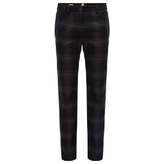 Men's Dark Grey Check Ankle Trousers
